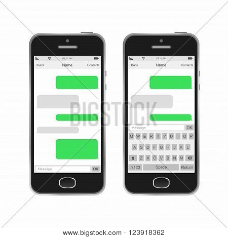 Smartphone chatting SMS Messages speech Bubbles. Vector Illustration.