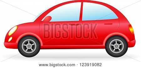 isolated retro red car silhouette, detail icon