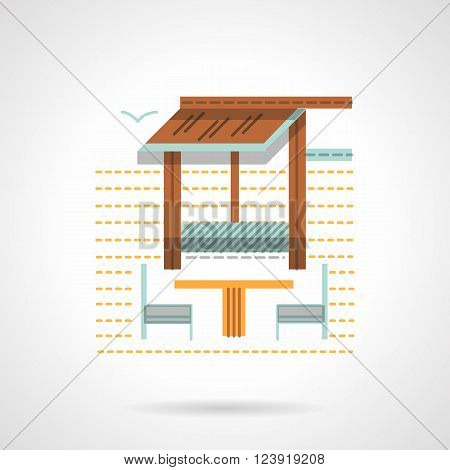 Outdoors cafe with table and chairs behind an awning. Cafe and bungalow theme. Small constructions for park, beach, garden. Flat color vector icon. Web design element for site, mobile and business.