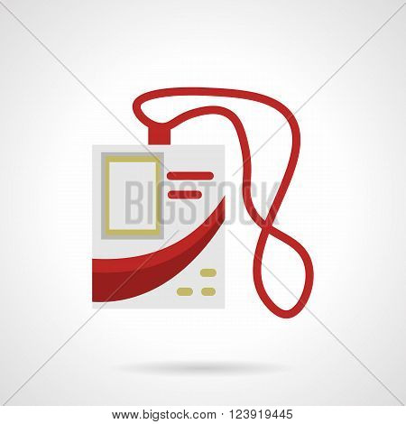 White personal badge with photo, red elements and red lace. Pass badge. ID card.  Flat color style vector icon. Web design element for site, mobile and business.