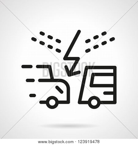 Automobiles crash. Two cars with lightning sign. Car insurance theme. Careful on a road. Simple black line vector icon. Single element for web design, mobile app.