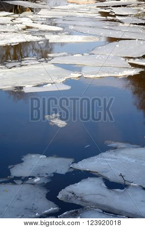 Ice floes on the water in the spring.