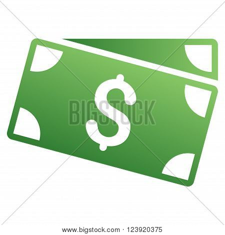 Banknotes vector toolbar icon for software design. Style is a gradient icon symbol on a white background.