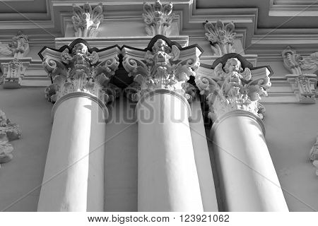 Columns of Naval Cathedral of St. Nicholas and the Epiphany in St.Petersburg Russia. Black and white.