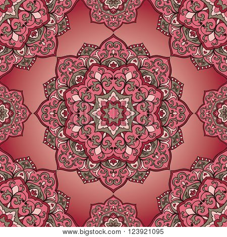 Oriental seamless pattern of mandalas. Vector pink ornament. Template for shawls scarves blankets textiles cushions.