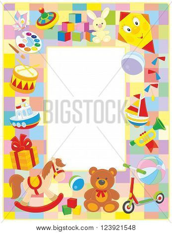 Vector vertical frame border with colorful toys