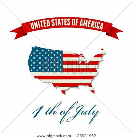 Independence day background. United States flag. USA flag. American symbol. USA map