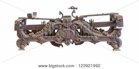 Isolated old rusty metal scales on white background.