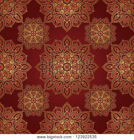 Seamless oriental pattern of mandalas on a burgundy background. Vector elegant ornament. Stylized template for embroidery shawl tapestry carpetwrapping textile.