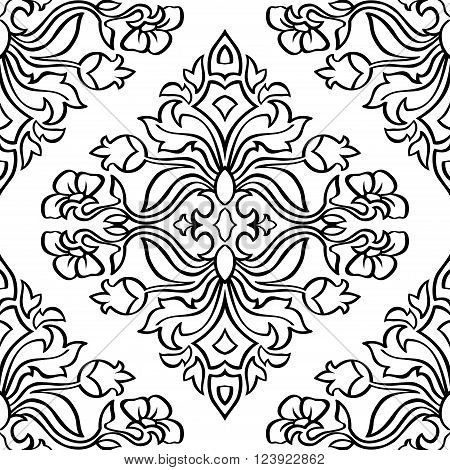 Oriental floral ornament with damask. Templates for carpet textile wallpaper bedcover tile and any surface. Seamless vector pattern of black contours on a white background.