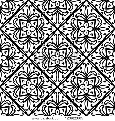 Oriental abstract ornament. Templates for carpet textile wallpaper tile mosaic. Seamless vector pattern of black contours on a white background.