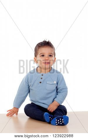 Beautiful baby crawling on the floor isolated on white background