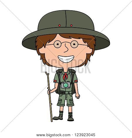Happy vector boy scout standing with wooden stick isolated on white background
