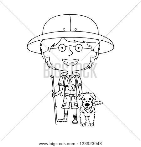 Happy vector boy scout with his fluffy dog isolated on white background