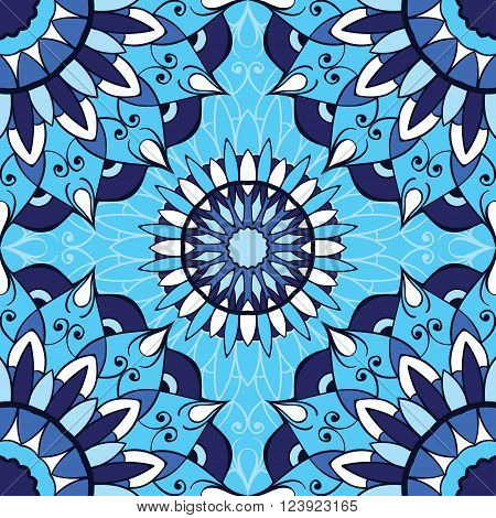 East ornament of mandalas on a light blue background. Vector seamless pattern of circular elements. Template for pillowcase cushion bedding carpet tile mosaic shawl.