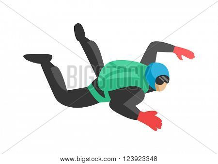 Skydiver man jumper and professional speed skydiver man. Skydiver lifestyle with green parachute back. Skydiver man parachutist foreground extreme sport freedom concept skydiver flat character vector.