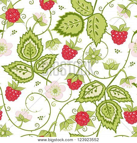 Red Raspberry seamless pattern. Bright summer vector background for textiles pillow & interior decoration web page background wrapping paper cosmetics food & drink package decoration. Editable