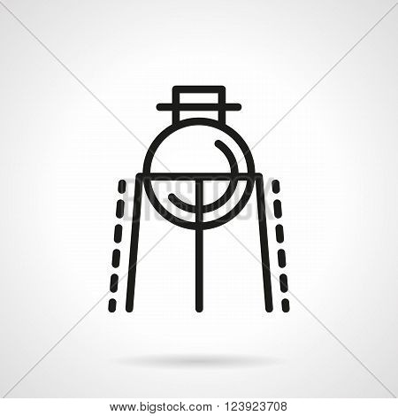 Laboratory equipment. Lab flask bulb on a burner rack. Science and education theme. Simple black line vector icon. Single element for web design, mobile app.