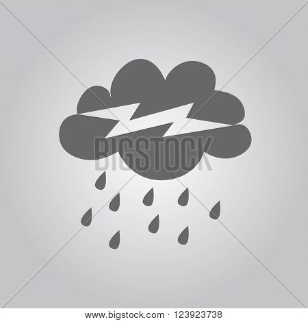 Stormy weather cloud vector icon. Monochrome grey design. Raindrop and lightning with rain