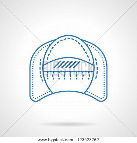 Soft furniture for home. offices, hotel. Modern arm chair. Furniture store. Flat blue line style vector icon. Single design element for website, business.