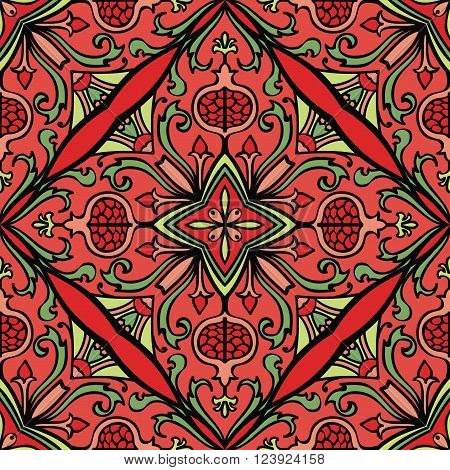 Vector seamless colorful ornament. Oriental floral pattern with pomegranates. Template for the carpet bedspread mosaic shawl tile textile wallpaper.