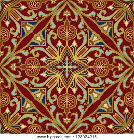 Vector seamless ornament with gold contour. Oriental floral pattern with pomegranates. Template for the carpet bedspreads mosaics shawls tiles wallpaper.