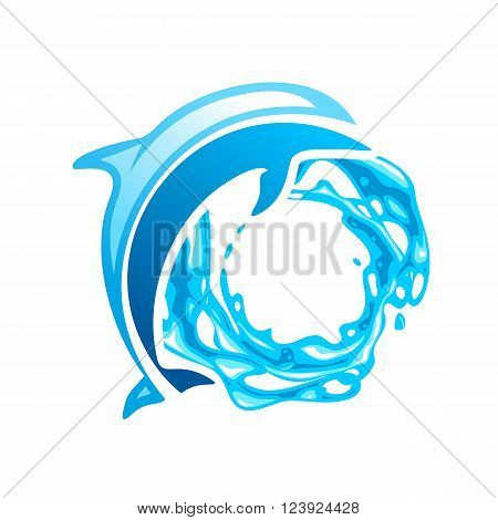 Dolphin vector emblem, blue dolphin on the waves