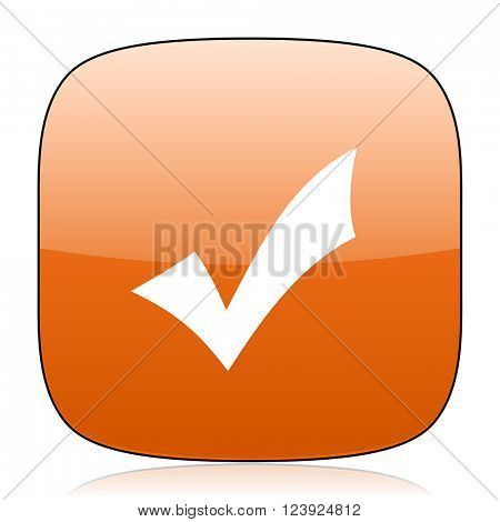 accept orange square glossy web icon
