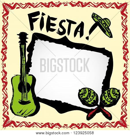 mexican fiesta frame with sombrero'smaracas and guitar hand drawn vector