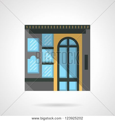 Colorful commercial building facade with arch door. Box office. Storefronts and showcases. Flat color style vector icon. Web design element for site, mobile and business.