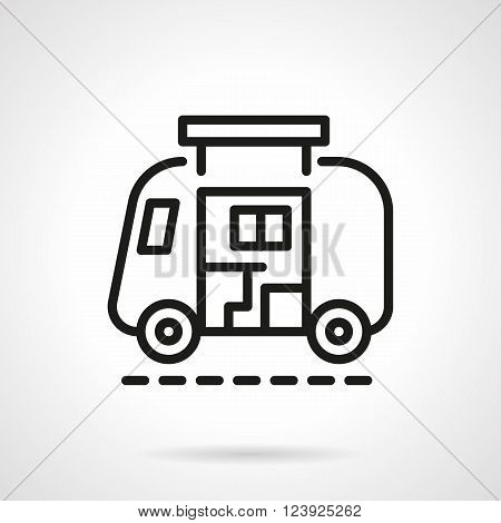 Abstract sign of camp car or trailer. Travel lifestyle. House on wheels. Simple black line vector icon. Single element for web design, mobile app.