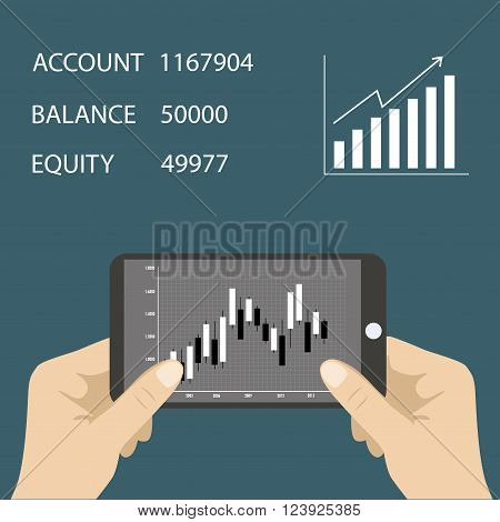 Smart phone with business graph in hand. Forex index economy report. Vector illustration