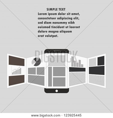 Vector illustration of online reading news or web surfing using smartphone with place for your inscription