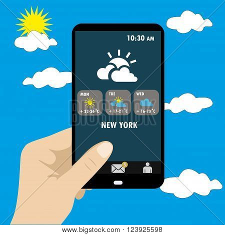 Vector illustration of smart phone in hand . Weather reports via smart phone.