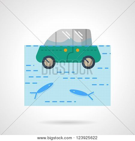 Insurance car from flood. Green car in a river or lake with fishes.  Flat color style vector icon. Web design element for site, mobile and business.