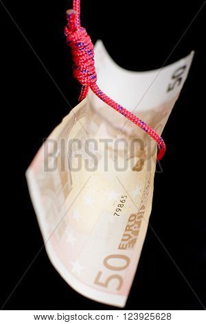 The banknote hanged metaphor of the crisis