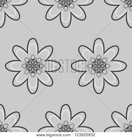 Seamless Black And White Abstract Flower Pattern From Ellipses