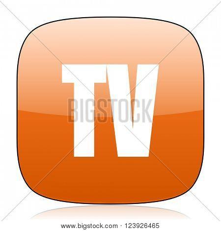 tv orange square glossy web icon
