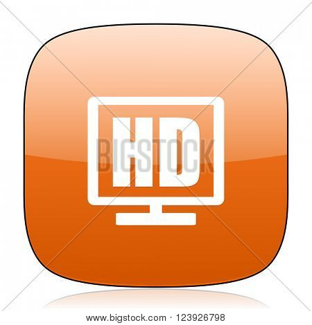 hd display orange square glossy web icon