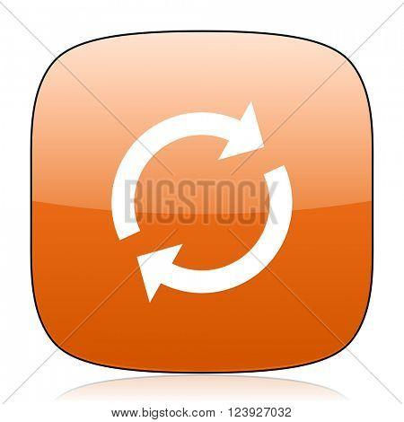 reload orange square glossy web icon