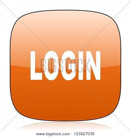 login orange square glossy web icon