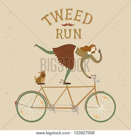 City style elegant woman with dog riding standing on a bicycle and drinking tea. Tweed run vintage title. Cartoon cyclist illustration for your design.