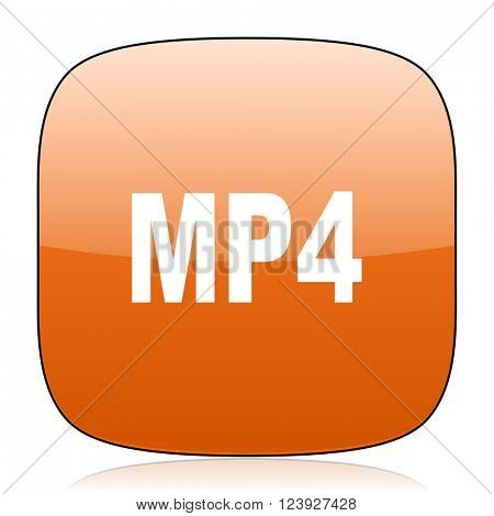 mp4 orange square glossy web icon