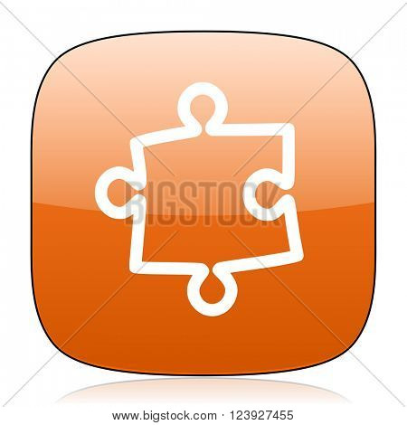 puzzle orange square glossy web icon