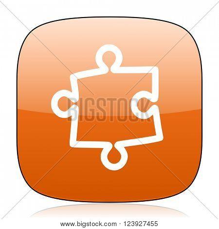 puzzle orange square glossy web icon