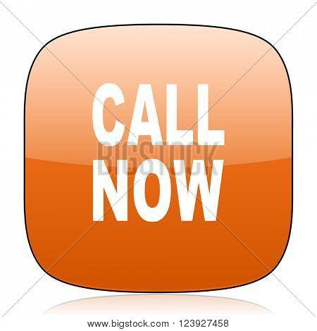 call now orange square glossy web icon