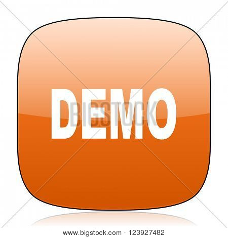 demo orange square glossy web icon