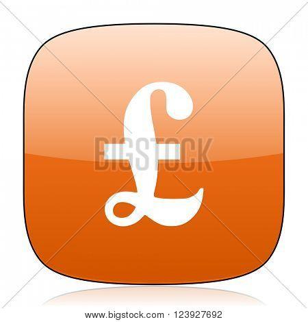 pound orange square glossy web icon