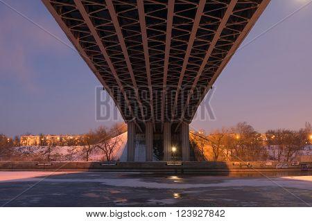 Volgograd, Russia - February 20, 2016: Night View Of The Bottom Of The Road Bridge Across The Volga-