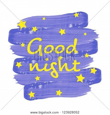 Good night written on blue painted background